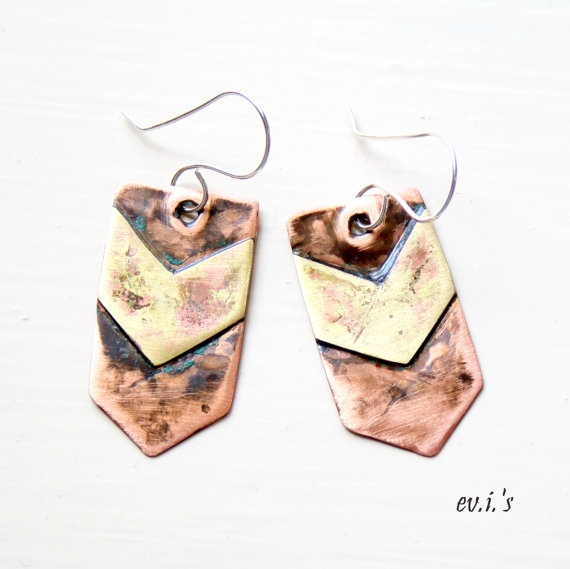 Handcrafted Eco Friendly Oxidised Copper by EVIsMetalworkJewelry, €28.00