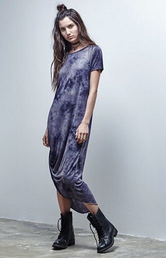 Tie-Dye Asymmetrical Maxi Dress