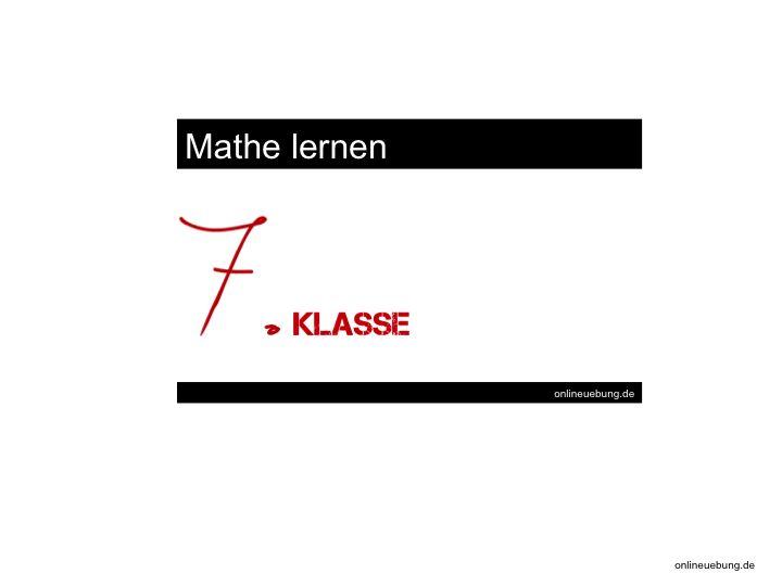Mathe 7 Klasse
