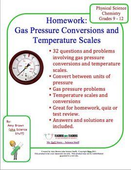 Gas Pressure Conversions, Problems, Temperature Scales ($)