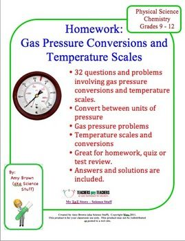 Gas Pressure Conversions, Problems, Temperature Scales ($)