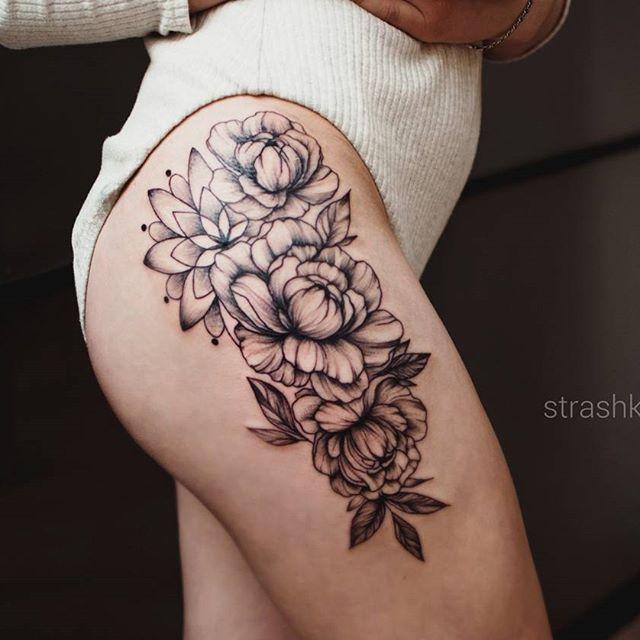 #tattoo #strashkeva #peoniestattoo #flowertattoo #flowers #blacktattoo #lineworktattoo #dotwork #mandala