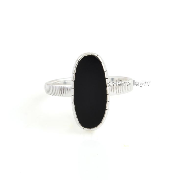 Beautiful Designer Black Onyx Ring-Black Onyx 8x16 mm Flat Oval Ring-Handmade Ring Jewelry-Gift For Her-Birthday Gift Ring  Product Details: Black Onyx Ring Stone Detail: Black Onyx Stone Size: 8x16 mm Flat Oval Plating: Silver Plated Product Code: GL4921  ♥:*´¨`*:.•.¸¸.•´¯`•.♥ ♥:*´¨`*:.•.¸¸.•´¯`•.♥♥:*´¨`*:.•.¸¸.•´¯`•.♥ ♥:*´¨`*:.•.¸¸.•´¯`•.♥  golden layer gives you hand stamped jewelry which is made just for you and your loved ones. Each piece is made k...