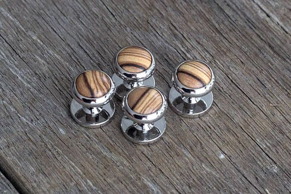 Check out this item in my Etsy shop https://www.etsy.com/listing/598086251/tuxedo-studs-olive-wood-tuxedo-studs