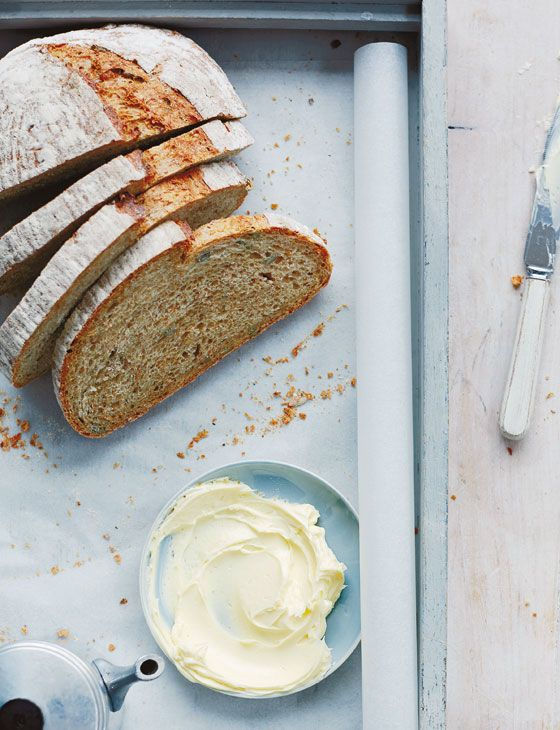 Seeded beer bread with whipped butter
