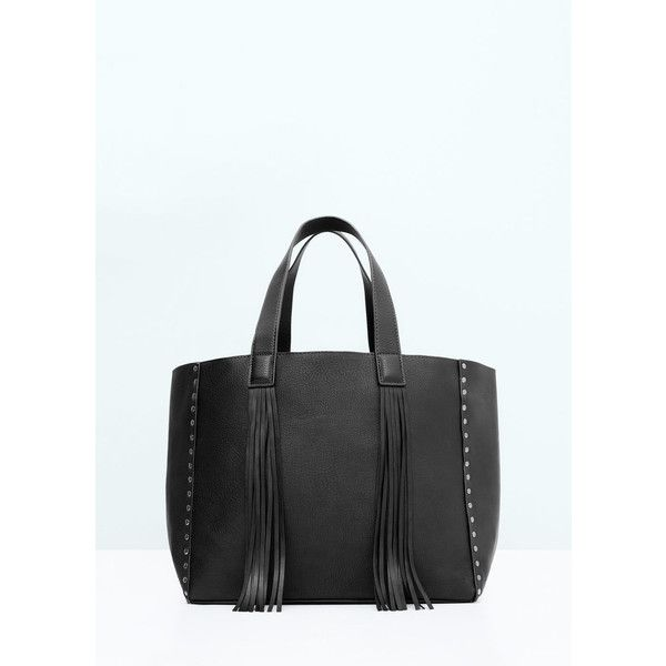 MANGO Fringed Shopper Bag (1544285 BYR) via Polyvore featuring bags, handbags, tote bags, mango tote bag, shopping tote bags, studded fringe purse, shopper handbags and mango handbags