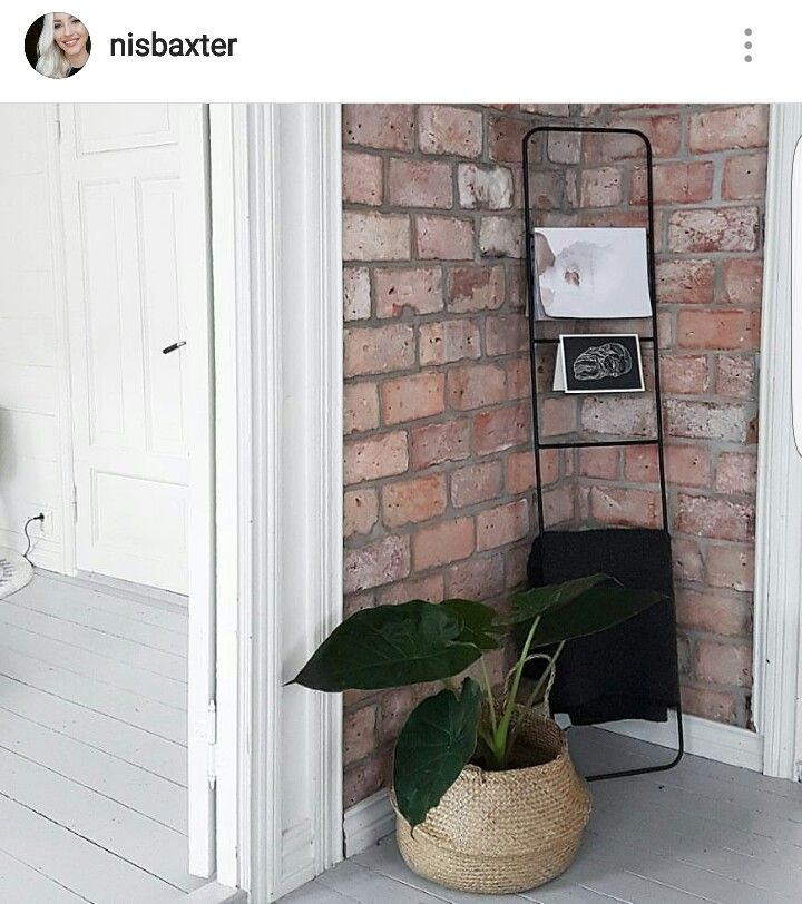 My beautiful blush pink brick wall and modern scandinavian interior.