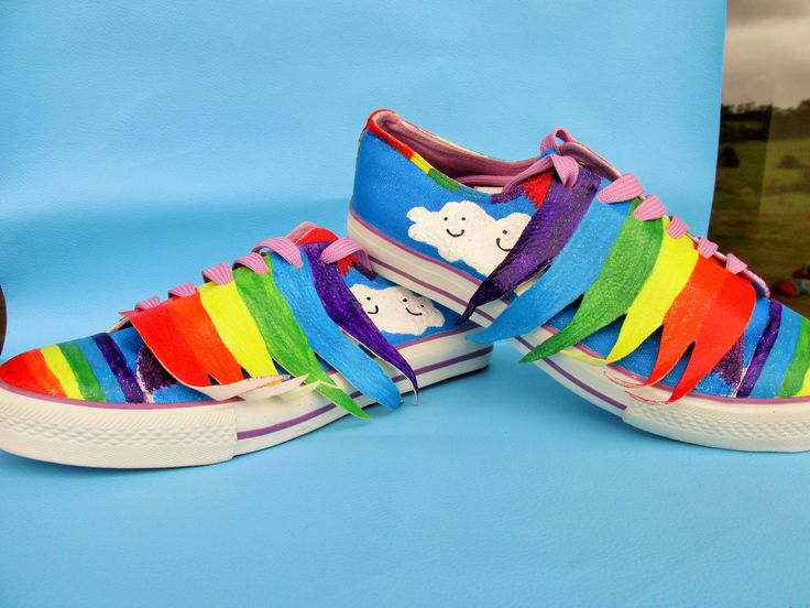 Rainbow shoes with detachable wings. Hand painted. Shoes have rainbows and kawaii clouds painted on.