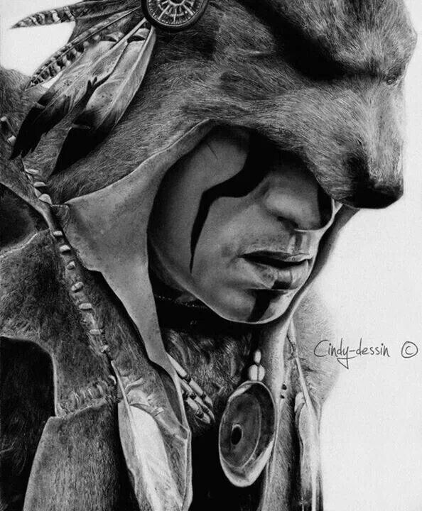 Native Americans Indians Amazing drawing by Cindy Charpilloz