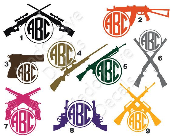 Hunting Guns Monogram Sticker Decal Car Window by MaddCaveDecals
