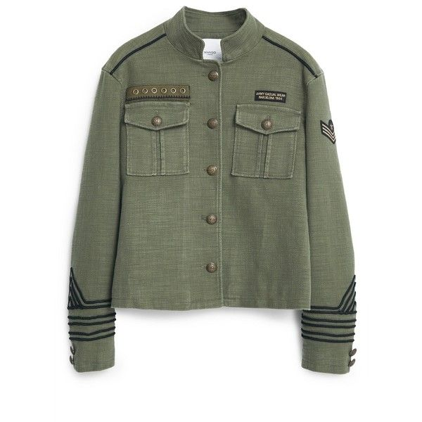 Military-Style Jacket (145 CAD) ❤ liked on Polyvore featuring outerwear, jackets, tops, cotton jacket, embellished jacket, military fashion, embellished military jacket and green military jacket