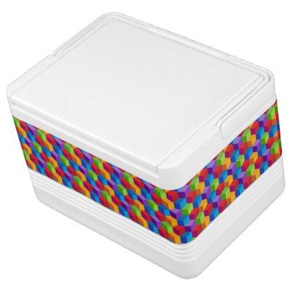 Rainbow Colorful Block Cube Pattern Drink Cooler - patterns pattern special unique design gift idea diy