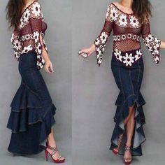 Plus Size XL Fashion Denim Fish Tail Skirt Layers Of Ruffles Patchwork Cowboys Mermaid Skirt Long Denim Jeans Skirts For Women $48.97