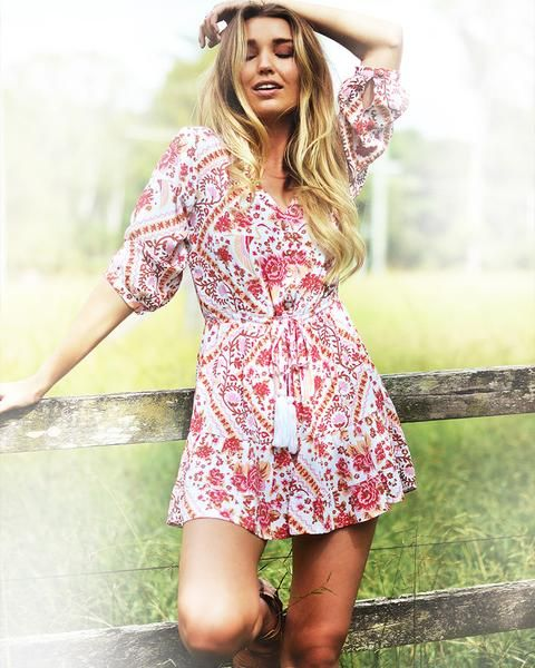 The Wynter Mini Dress in Strawberries & Cream...