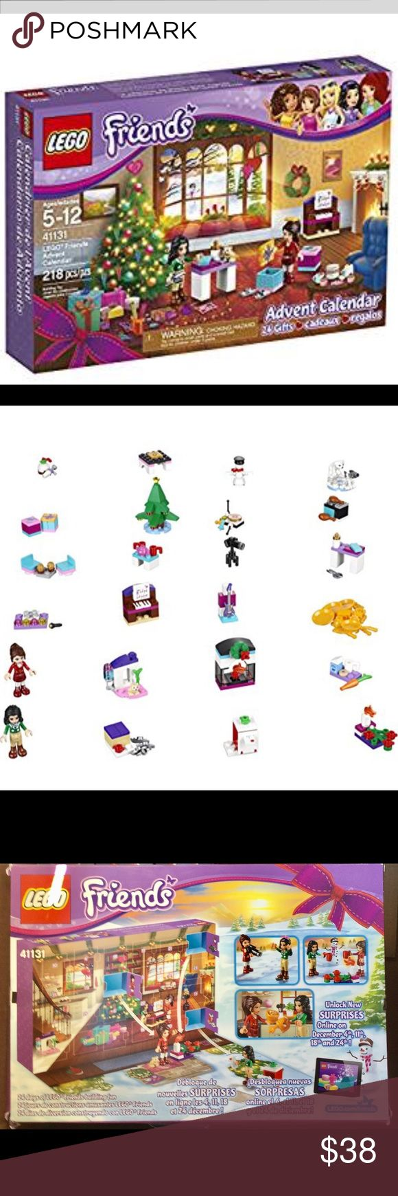 LEGO Friends 41131 Advent Calendar Building Kit Brand New - 2016 LEGO Friends 41131 Advent Calendar Building Kit (218 Piece) Features 24 gifts, each enclosed in its own compartment in a LEGO Friends holiday-themed calendar Open a new compartment each day and count down to Christmas with buildable gifts Collect 24 buildable surprises including musical instruments, microphone and DJ decks, a hamster, fireplace, snowman and ice skates Lego Other