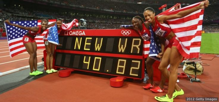 The U.S. women's 4x100-meter team set a world record that had stood since 1985, perfectly passing the baton from one sprinter to the next and crossing the line in 40.82.  Bianca Knight, Carmelita Jeter,Tianna Madison and Allyson helped win the gold medal and set the world record over a half second lower than it previously stood. The old record was held by East Germany with a time of 41.37 set on Oct. 6, 1985. Felix,