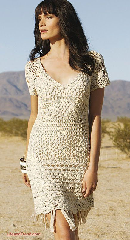 Beautiful Short Women Crochet Dress 2016
