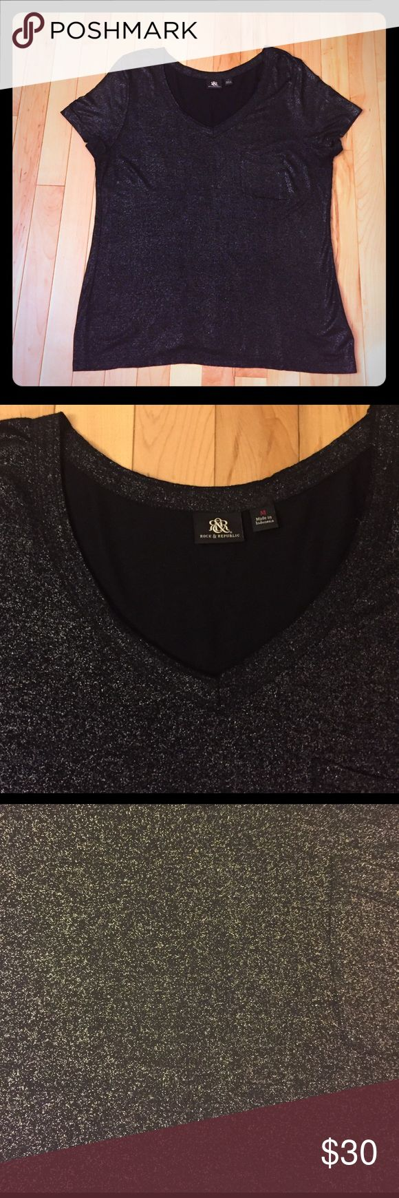 Rock & Republic Top Size M This Rock & Republic black and silver short sleeve top size M is in like new condition. No stains, rips or odors! A great top to dress up or down. Rock & Republic Tops Tees - Short Sleeve