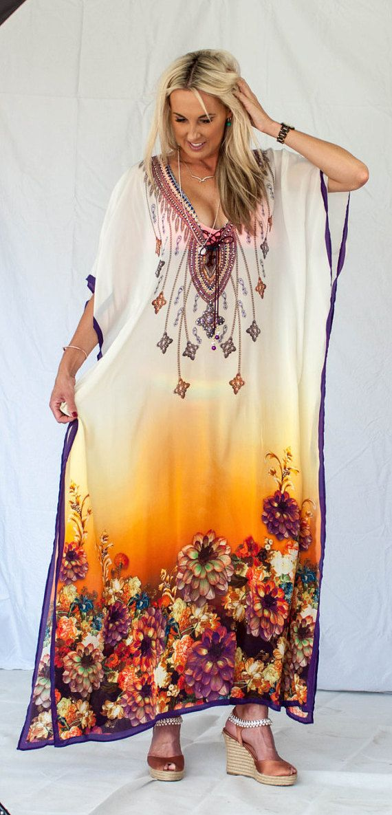 Kaftan dress, embellished Bamber Viscose multi coloured print relaxed fit gorgeous lace-up kaftan for beach or smart casual wear