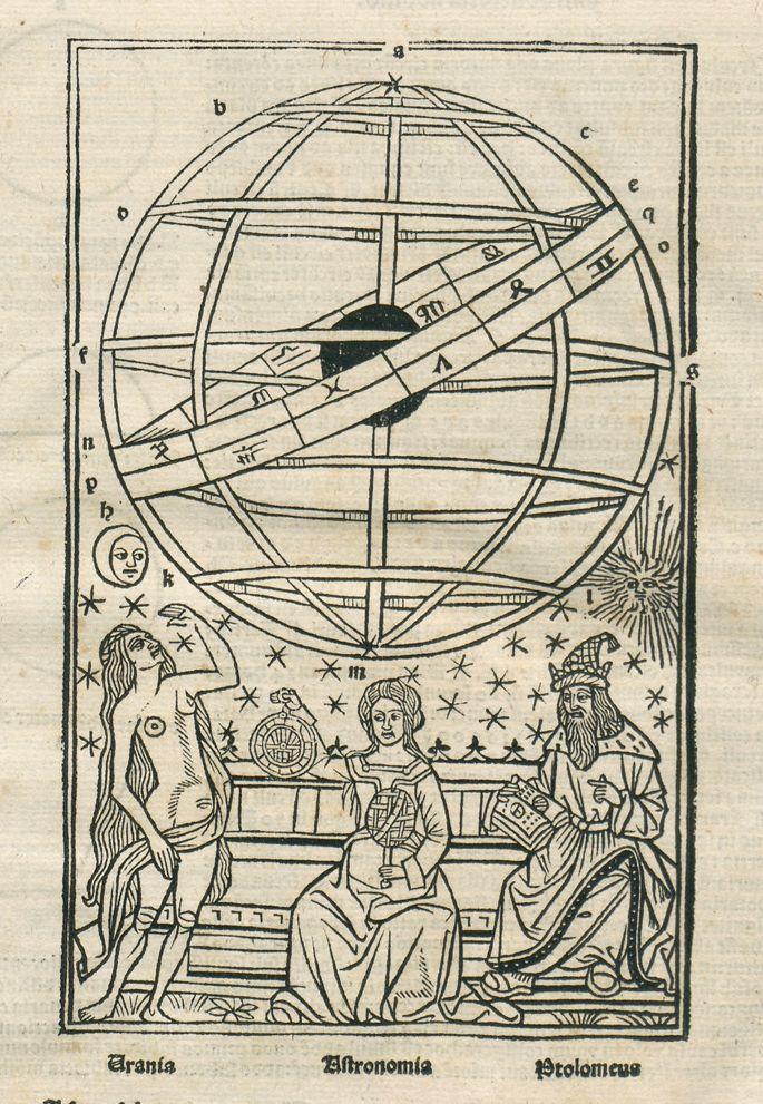 From:  Johannes de Sacrobosco, Sphaera mundi : Textus de Sphera Iohannis de Sacrobosco : cum additione quantum necessarium est adiecta, nouo co[m]mentario nuper edito ad vtilitatem studentiu[m] philosophice Parisien[sis] Accademie illustratus. -  Impressum Parisij : per Vvolffgangu[m] Hopyl, 1494 duodecima Februarij