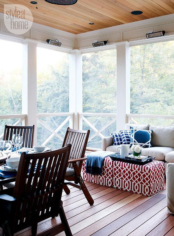 Screened Porch. Decorating and Furniture Ideas for Screened Porch. Screened-in porch with cedar ceiling and floor. #ScreenedPorch #Furniture #Decor Via Style at Home.