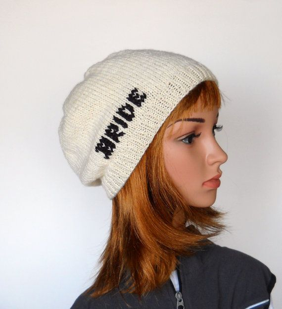 Brides Slouchy Beanie in Ivory and Black Handknit Bride by Pikeys, $30.00