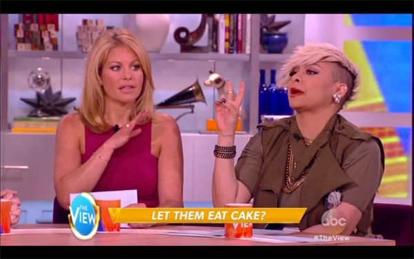 Candace Cameron Bure and Raven Symone went head-to-head on the July 7 episode of 'The View,' when they argued over a bakery's refusal to bake a cake for a lesbian wedding. Things got pretty intense between the two child stars. Watch the video here!