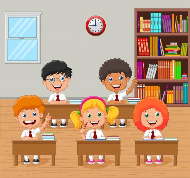 Ninos De La Escuela De Dibujos Animados Levantando La Mano En El Aula Vector Premium Free Vect Ninos Escuela Dibujos Familia Feliz Dibujo Ninos En La Escuela