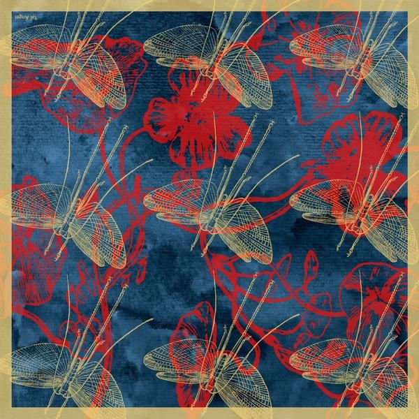 The Deep Blue Dragonfly Silk Scarf