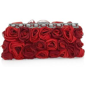valentino silk georgette rose clutch