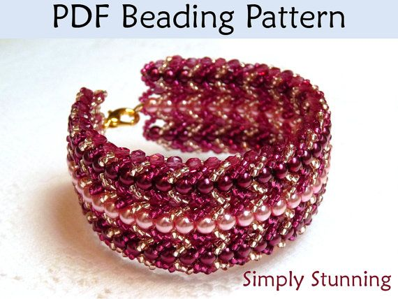 Beading Pattern, Jewelry Tutorial, Flat Spiral Stitch, Bead Patterns, Beaded Bracelets, PDF Instructions, Simple Bead Patterns on Etsy, $8.00