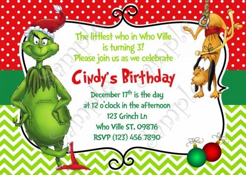 15 best Grinch Christmas Party Ideas images on Pinterest Grinch - free xmas invitations