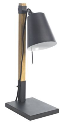 For a more sophisticated look, this Liber Table Lamp combine smooth wood-effect textures and shiny metal surfaces. #lighting #tablelamp