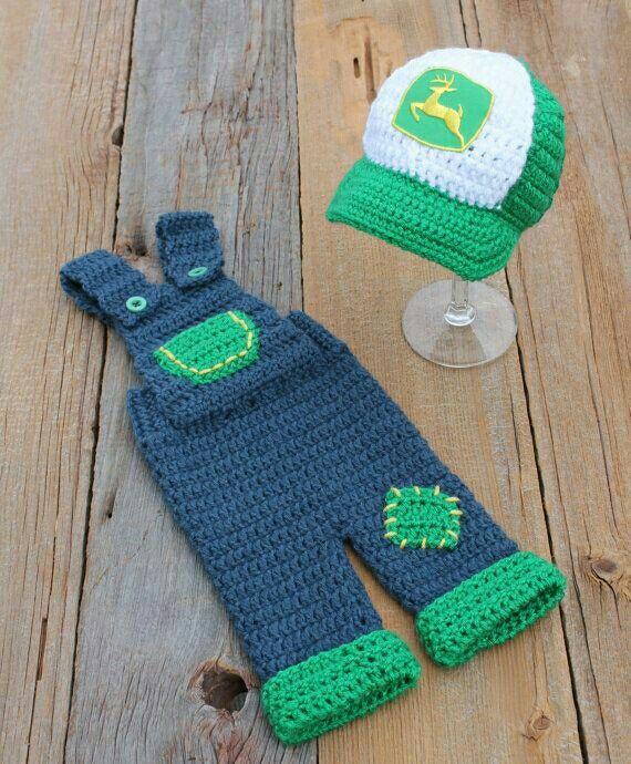 John Deere inspired overalls and trucker hat, kids, baby
