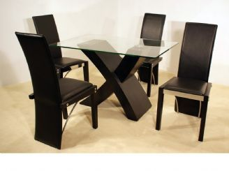 Arizona Black Glass Rectangular Dining Table With Black Beech Crossed Pedestal & Four PU, Black Beech & Chrome Chairs