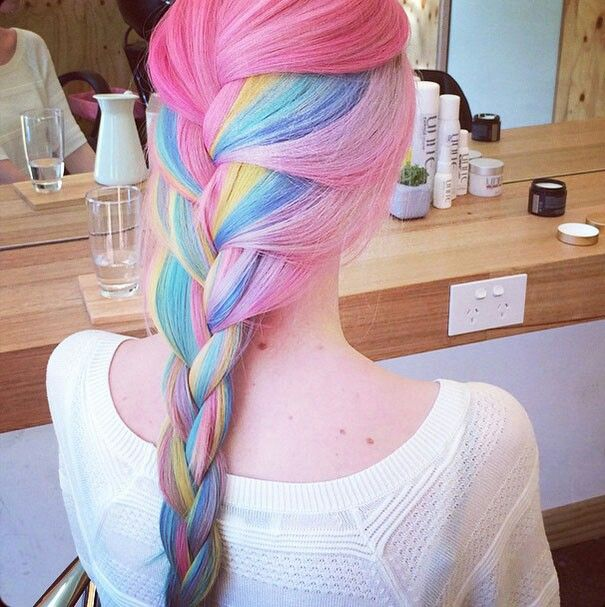 Rainbow hair  Beautiful mixing of colors