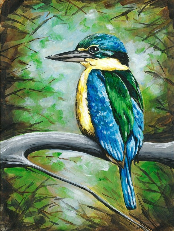 Art by Ira — Kingfisher framed painting $450 www.artbyira.net