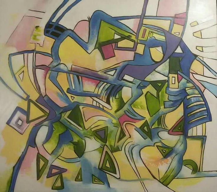 """Zelený chaos"", akryl 80x90 cm."