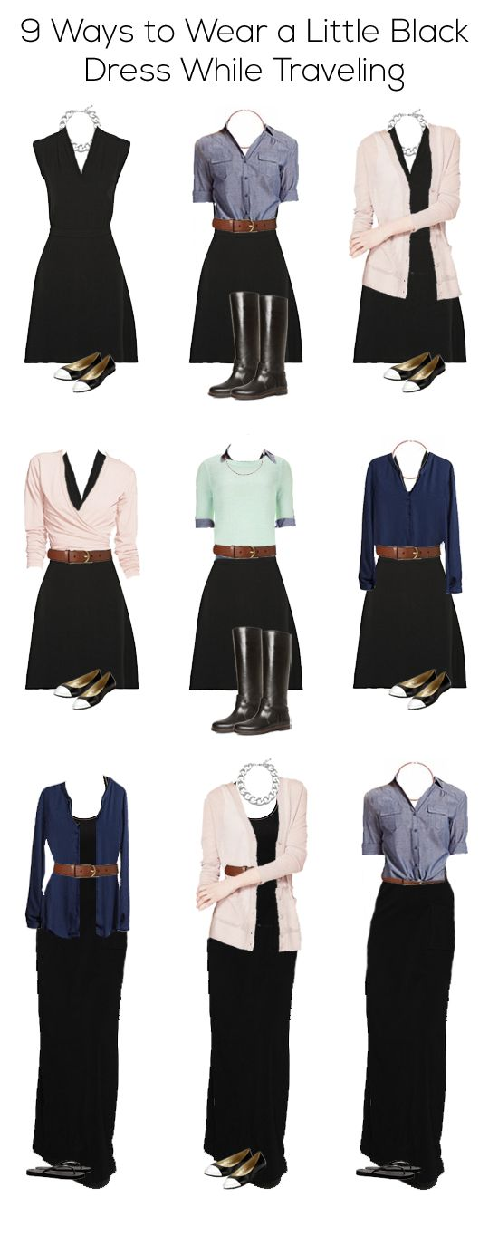 9 maneiras de usar vestido preto  com modéstia. ----------EmilyStyle: 9 Ways to Wear a Little Black Dress While Traveling