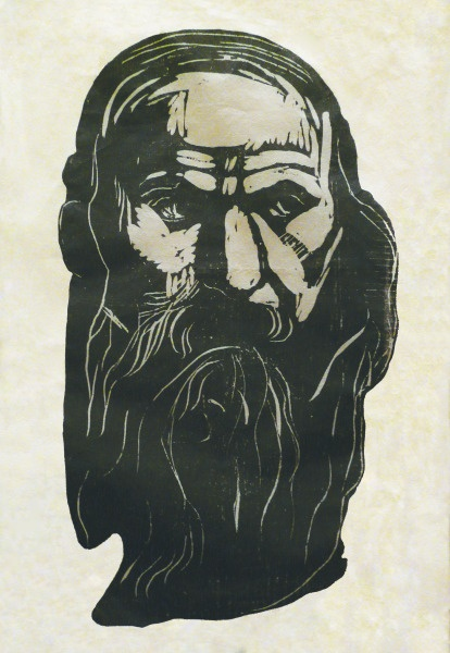 "Edvard Munch  Hode av gammel mann med skjegg (Head of an Old Man with Beard), 1902  Print: Woodcut printed in black; signed ""Edv Munch"" lower right, in pencil  21 3/8"" x 15 1/2""  Edition: One of a few impressions from the second (final) state"
