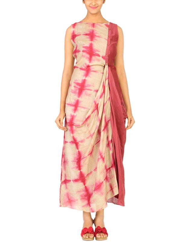 Indian Fashion Designers - Myoho - Contemporary Indian Designer Clothes - Dresses - MYO-AW15-MYO-601 - Red Clamp Dyed Dress