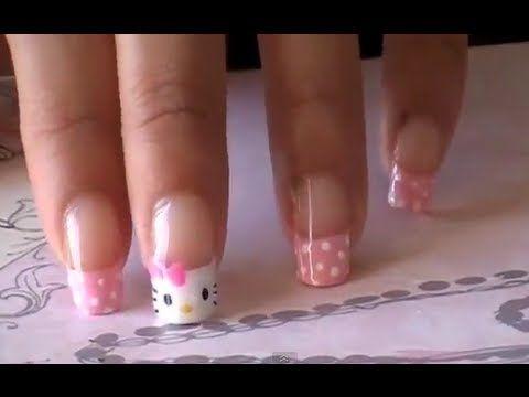 Hello Kitty nails! Sooooooo cute!<3 #hellokitty #nails