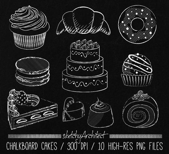 Chalkboard Cake Clipart Digital Instant от