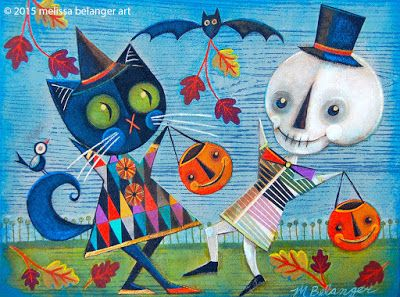 """""""Skellie Cat"""", 12""""x16"""" mixed media acrylic painting by Melissa Belanger for Ghoultide Gathering 2015"""