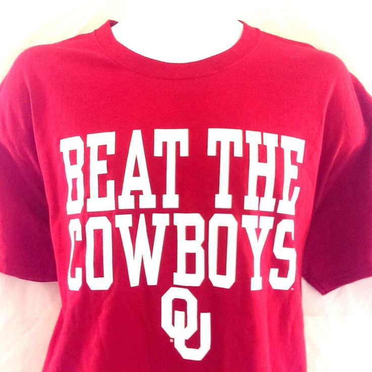 OU Beat The Cowboys T'-Shirt L Boomer Sooner Oklahoma University Football Red  #Gildan #GraphicTee