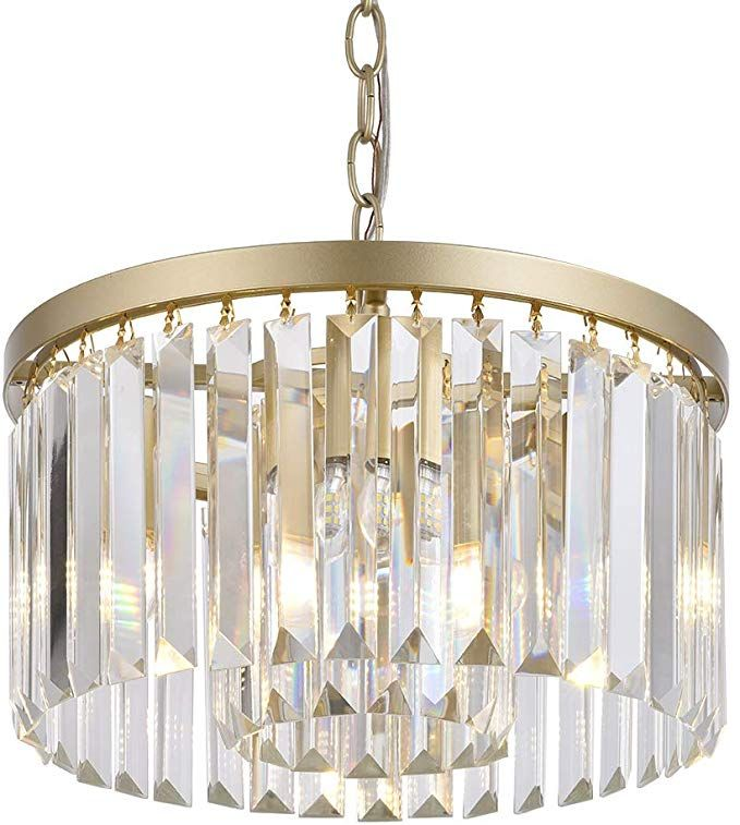 Cuaulans Modern Crystal Chandelier Semi Flush Mount Ceiling Light Fixture In 2020 Modern Crystal Chandelier Flush Mount Ceiling Lights Bathroom Light Fixtures Ceiling