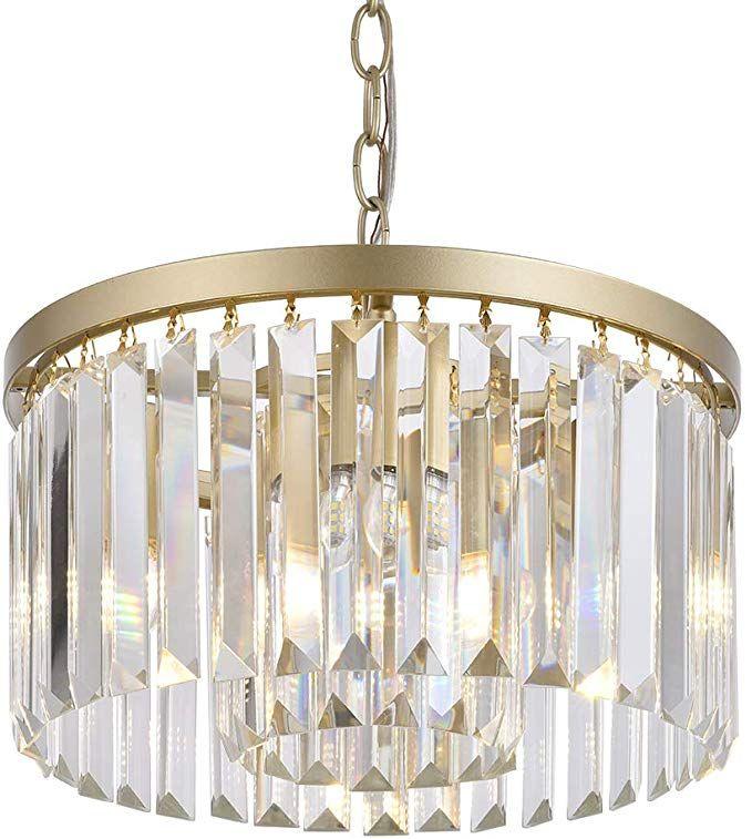 Cuaulans Modern Crystal Chandelier Semi Flush Mount Ceiling Light