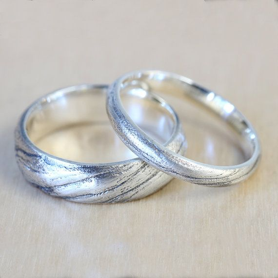 Perfect Bristlecone Tree Bark Wedding Band Set in Recycled Silver Wedding Ring Set mm Wide