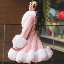 Kadınlar için gerçek kürk mantolar kış motorin vizon kürk ceket lüks 100% tilki kürk pembe ceket ücretsiz kargo Yeni Phoenix 1025 H(China (Mainland))