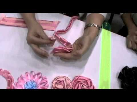 #video tutorial easy ribbon flowers, with a ruler and tape, for smaller flowers use a popsicle stick visit me at My Personal blog: http://stampingwithbibiana.blogspot.com/